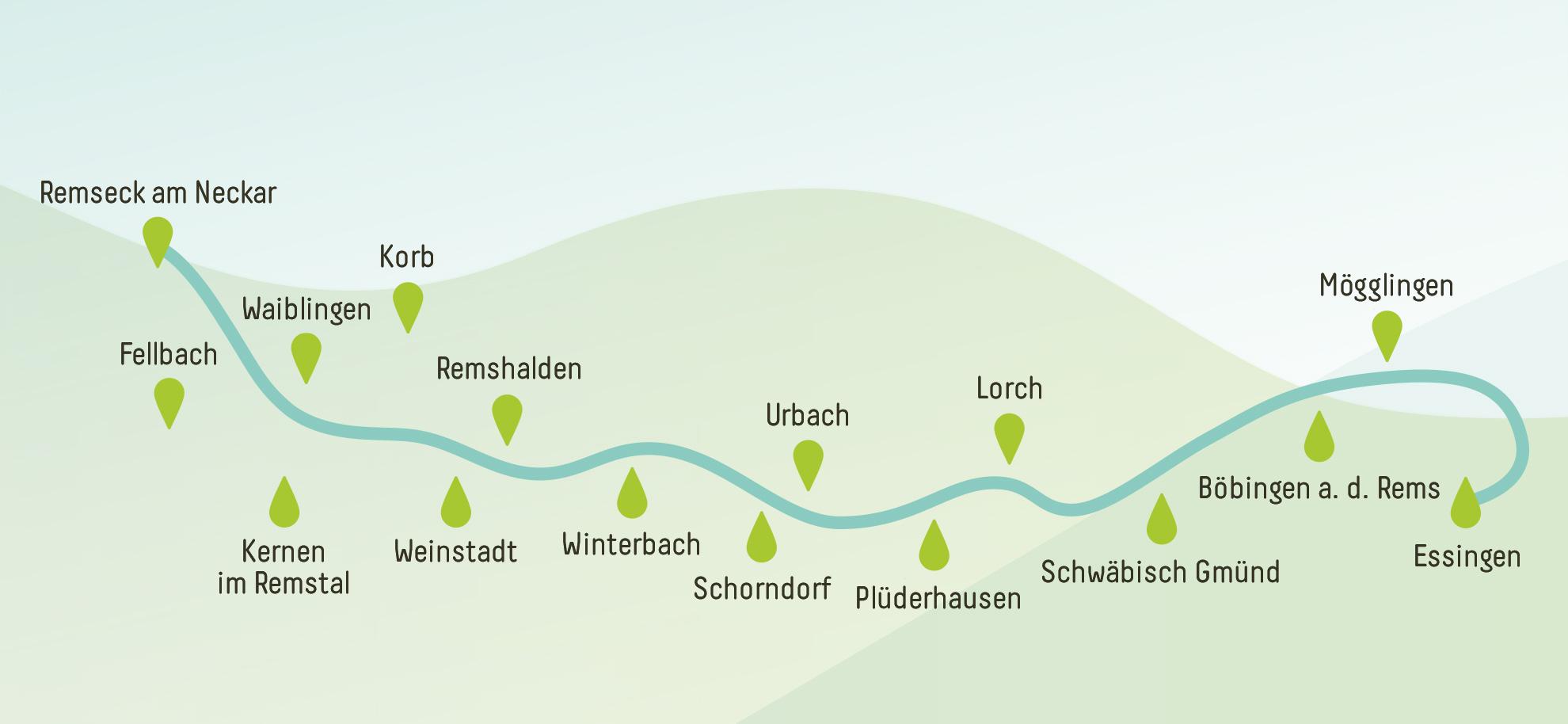 Remstal Gartenschau 2019 - Remsverlauf und teilnehmende Kommunen