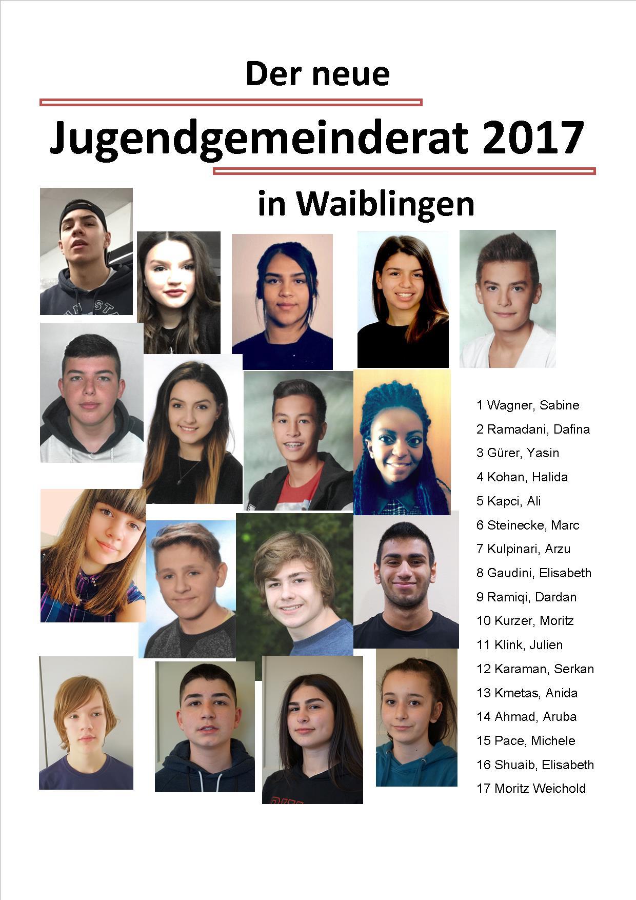 Der neue Jugendgemeinderat 2017