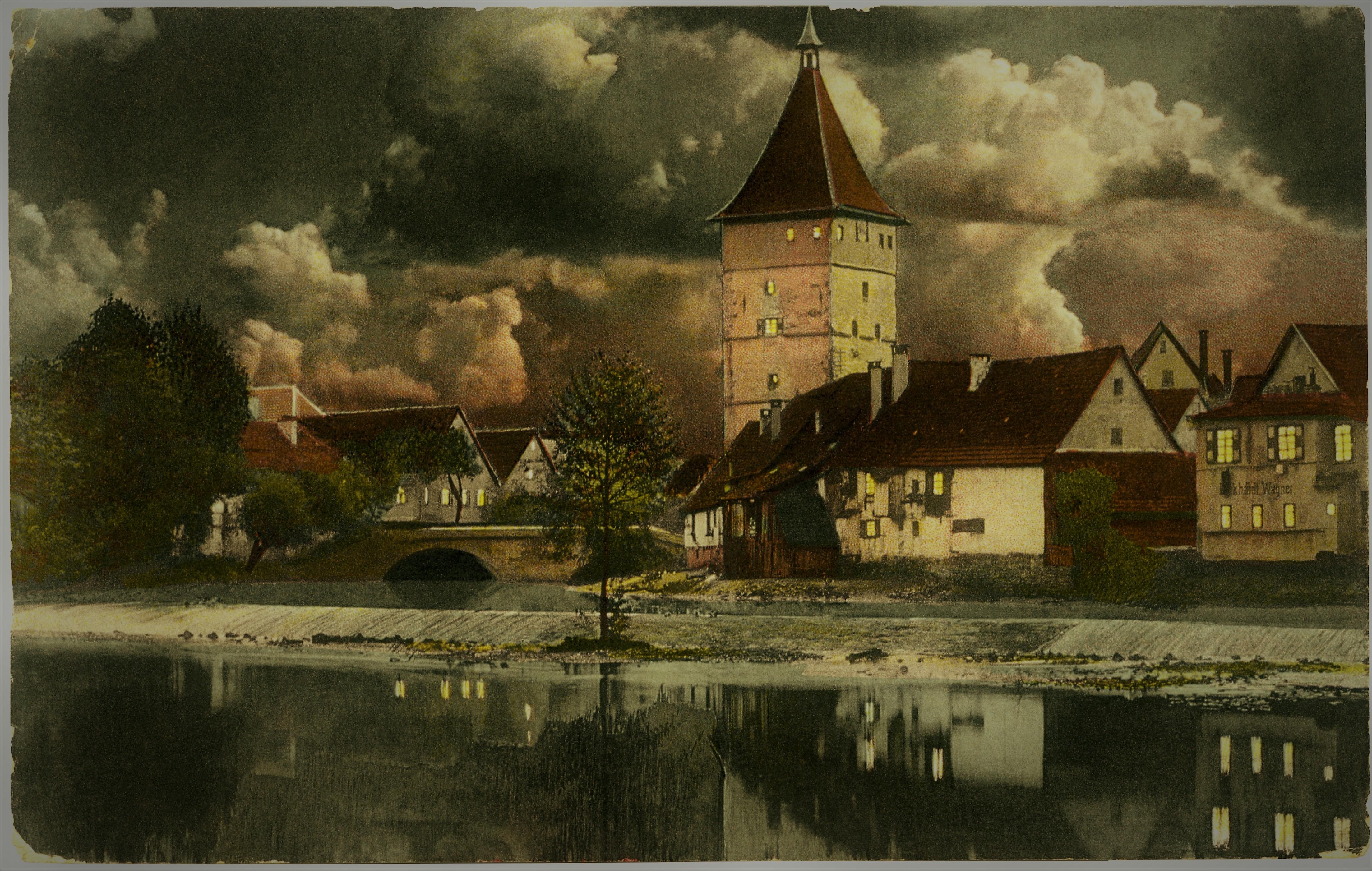 Postkarte, 1914, Rems mit Beinsteiner Torturm bei Nacht