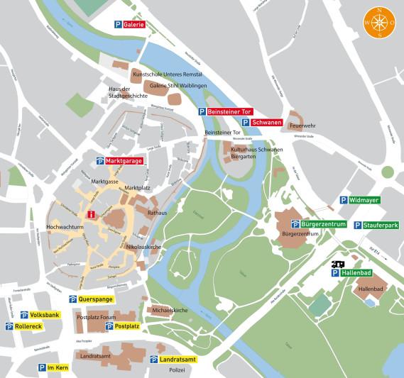 Plan mit allen Parkhäusern und Parkplätzen