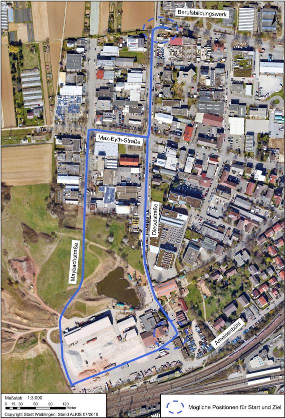 Geplanter Verlauf der Buslinie im Gewerbegebiet Ameisenbühl